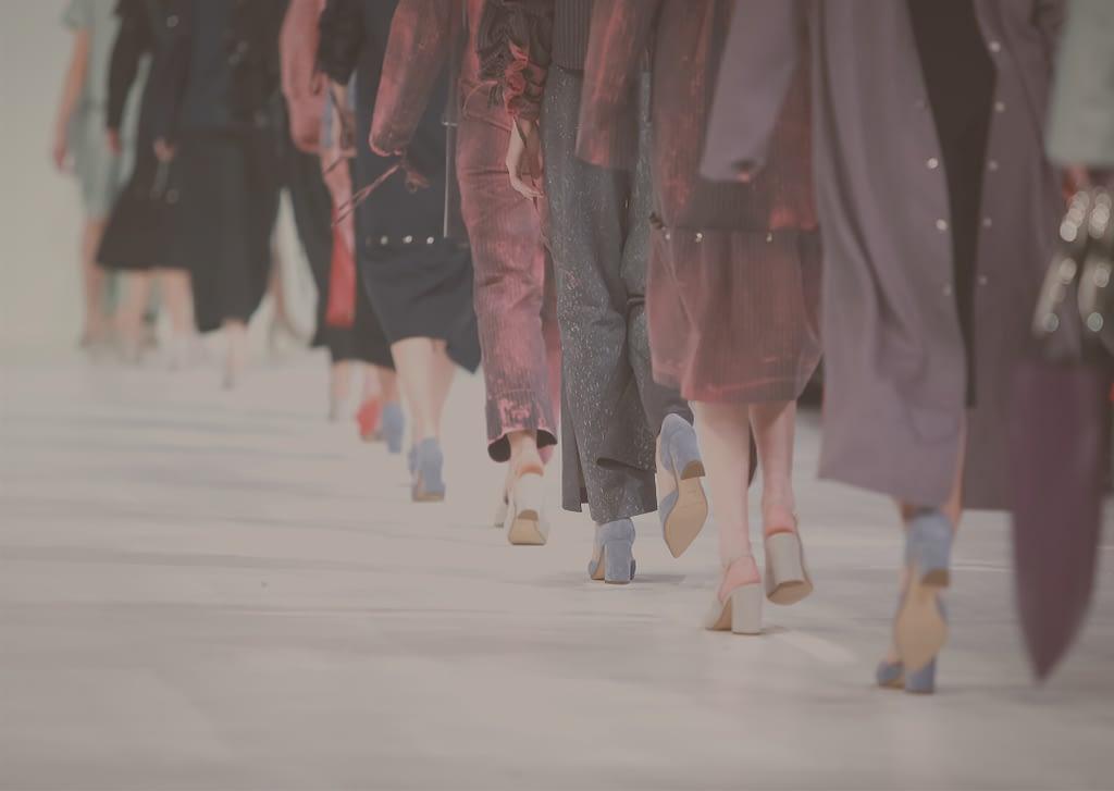 Runway models on catwalk feet shoes legs