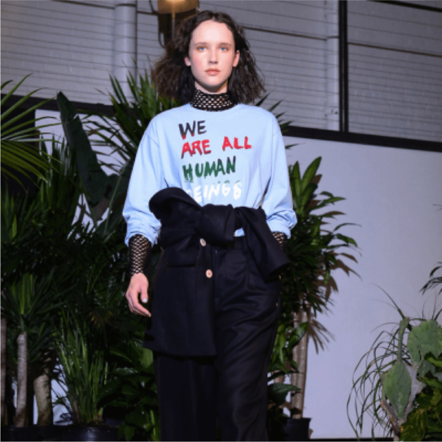 model runway we are all human shirt