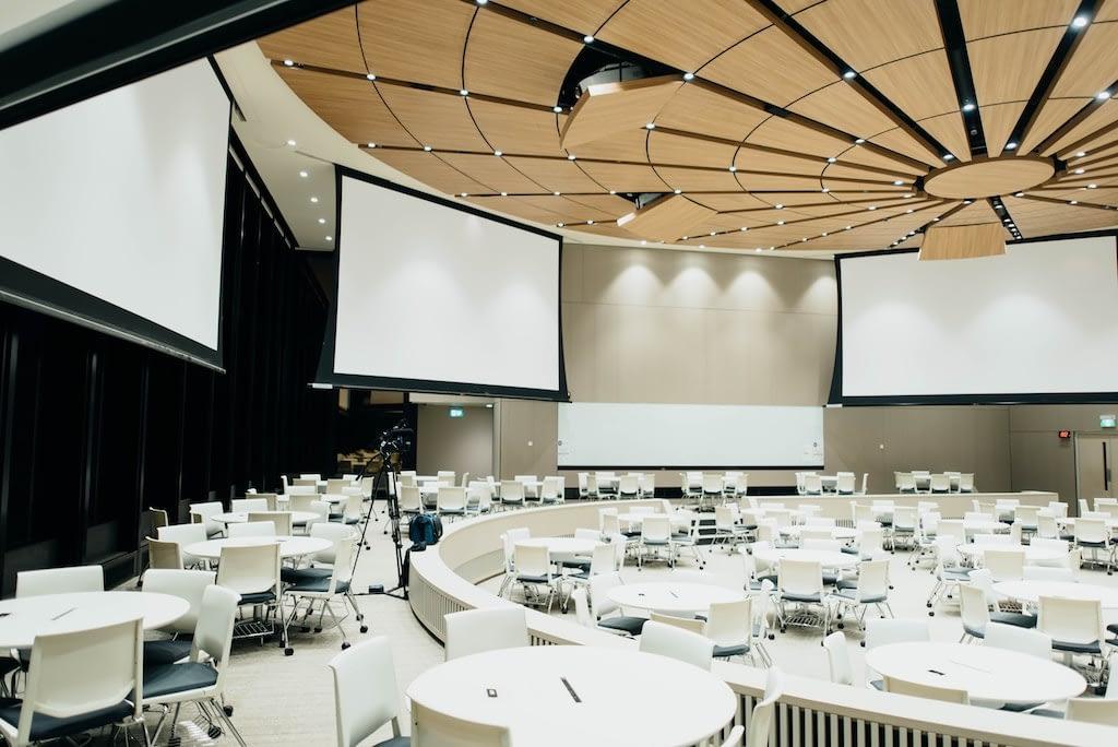 tables setup for a presentation