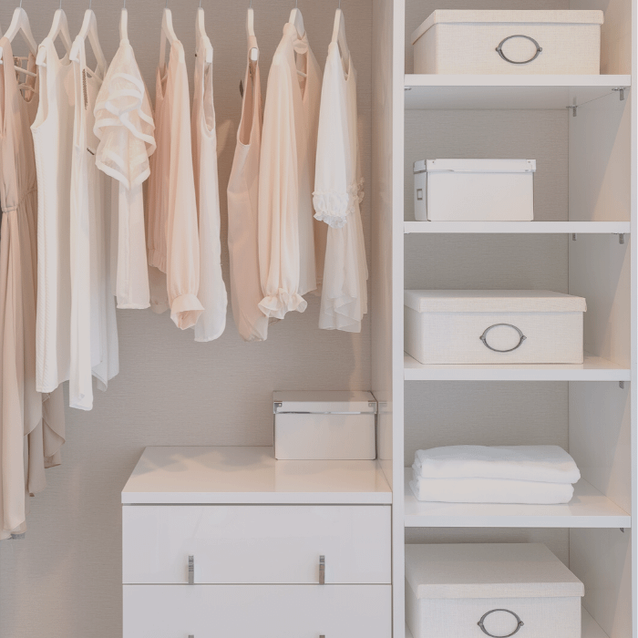 fancy open closet with clothing and boxes