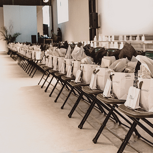 Dior fashion show setup gift bags