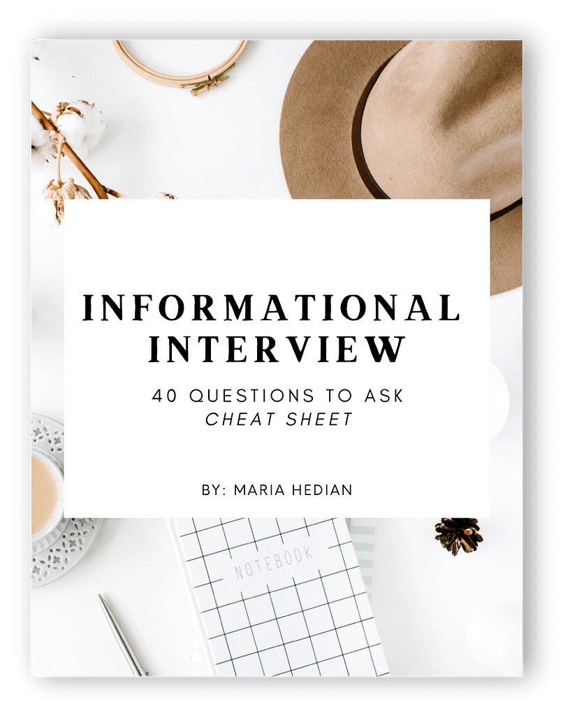 Freebie Information Interview Cheat Sheet Cover Shadow