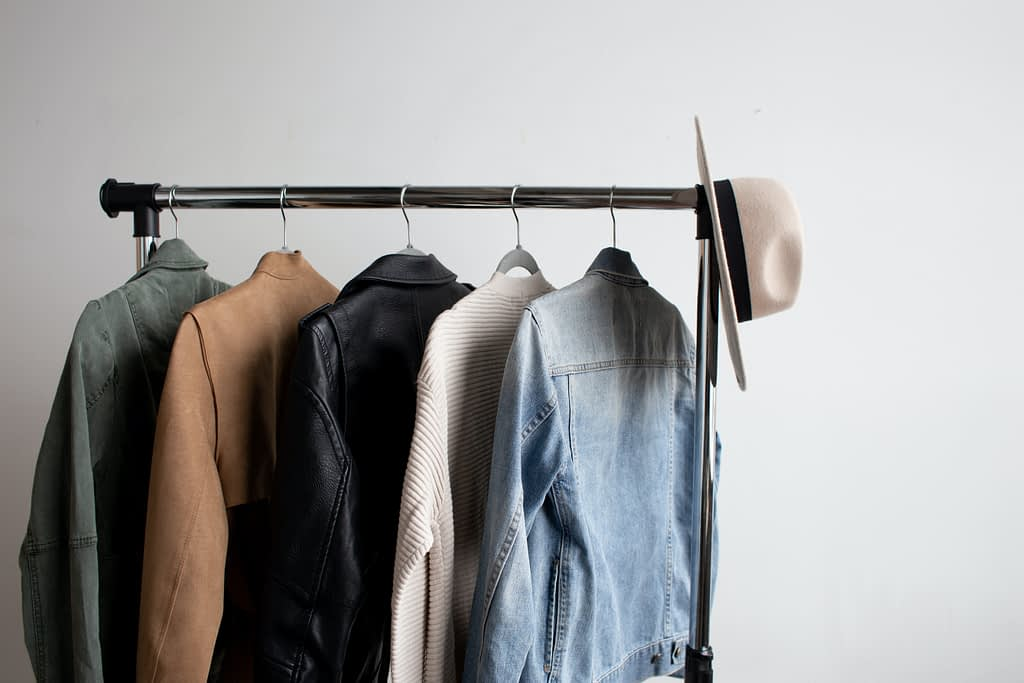rack of clothes fashion styling for job
